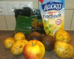 Составляющие продукты нори под шубой